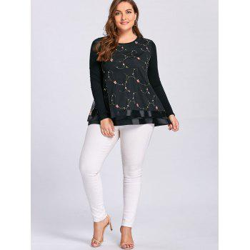 Plus Size Floral Embroidered Layered Blouse - 5XL 5XL