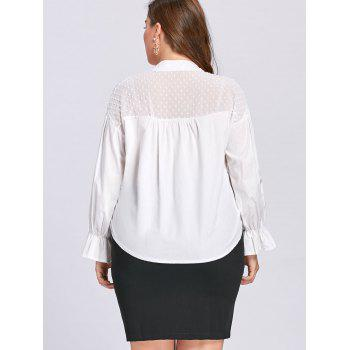 Plus Size Transparent Embellished Drawstring Blouse - WHITE 4XL