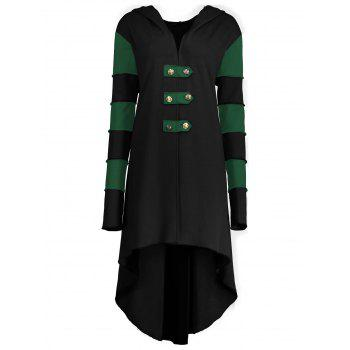 High Low Plus Size Lace-up Hooded Coat - BLACK AND GREEN BLACK/GREEN