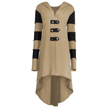 High Low Plus Size Lace-up Hooded Coat - KHAKI KHAKI