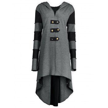 High Low Plus Size Lace-up Hooded Coat - GRAY GRAY