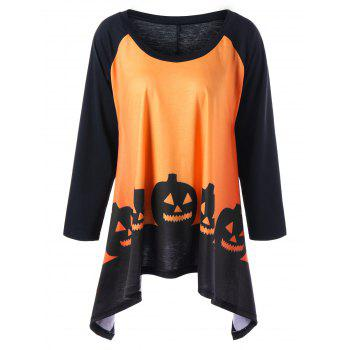 Plus Size Halloween Two Tone T-shirt