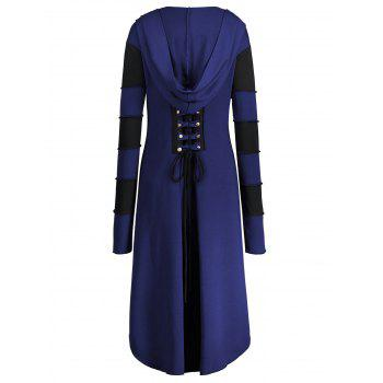 High Low Plus Size Lace-up Hooded Coat - BLUE 5XL