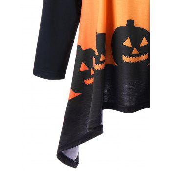 Plus Size Halloween Two Tone T-shirt - ORANGE YELLOW 4XL