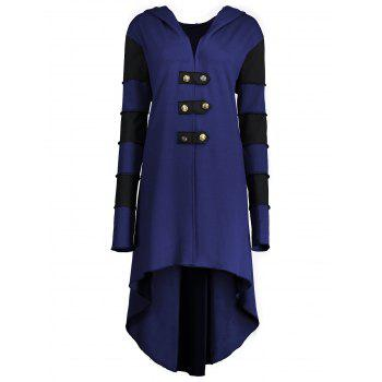 High Low Plus Size Lace-up Hooded Coat - BLUE BLUE