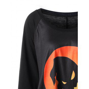 Plus Size Halloween Raglan Sleeve Top - BLACK/ORANGE 2XL