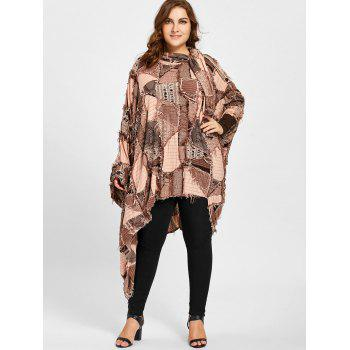 Ripped Plaid Plus Size Poncho T-shirt - CAMEL CAMEL