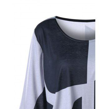 Plus Size Curved Flare Sleeve Top - BLACK/GREY XL