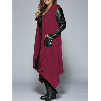 Plus Size PU Leather Trim Longline Asymmetrical Coat - RED RED