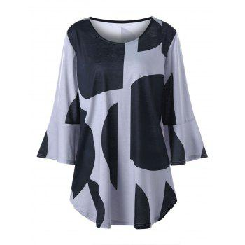 Plus Size Curved Flare Sleeve Top - BLACK AND GREY 2XL