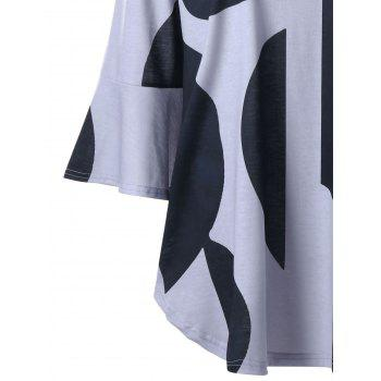 Plus Size Curved Flare Sleeve Top - BLACK/GREY BLACK/GREY