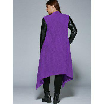 Plus Size PU Leather Trim Longline Asymmetrical Coat - PURPLE 3XL