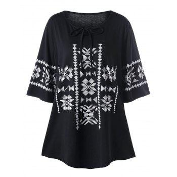 Plus Size Monochrome Tie Front Top - BLACK BLACK