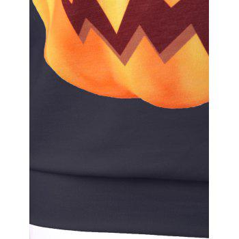 Halloween Plus Size Pumpkin Print Skew Neck Pullover Sweatshirt - BLACK 3XL