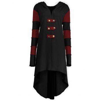 High Low Plus Size Lace-up Hooded Coat - BLACK&RED XL
