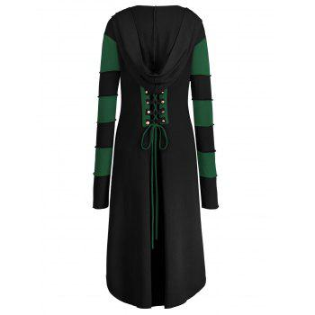 High Low Plus Size Lace-up Hooded Coat - BLACK/GREEN 2XL