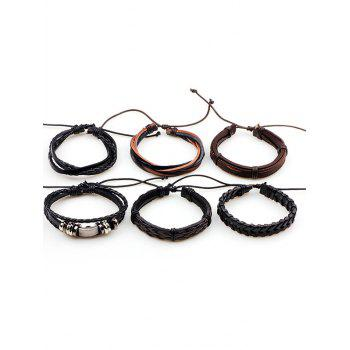 Vintage Faux Leather Woven Layered Bracelets Set -  BROWN