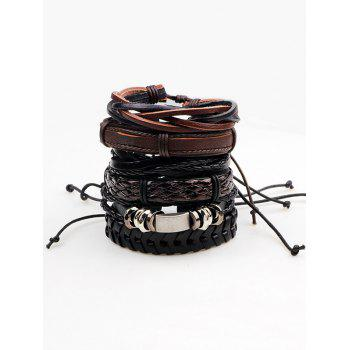 Vintage Faux Leather Woven Layered Bracelets Set - BROWN BROWN
