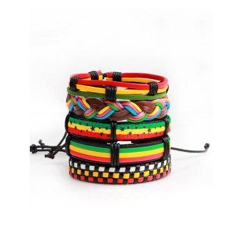 Artificial Leather Woven Multicolor Layered Bracelet - COLORFUL COLORFUL