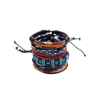 Faux Leather Woven Bohemian Layer Bracelet - COLORFUL