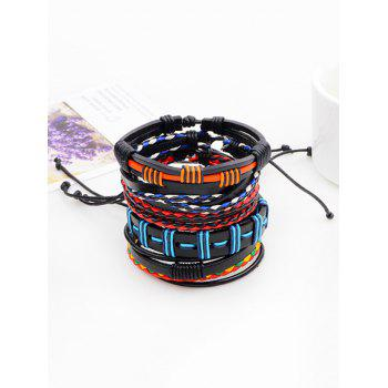 Faux Leather Woven Bohemian Layer Bracelet - COLORFUL COLORFUL