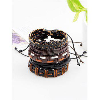 Faux Leather Woven Bohemian Layer Friendship Bracelets - BROWN BROWN