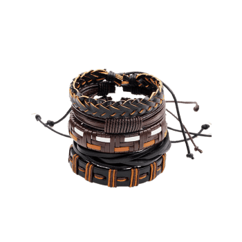 Faux Leather Woven Bohemian Layer Friendship Bracelets - BROWN