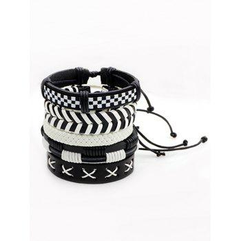 Layer Vintage Faux Leather Woven Bracelet Set -  BLACK