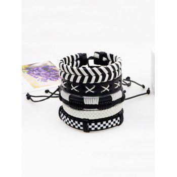 Layer Vintage Faux Leather Woven Bracelet Set - BLACK BLACK