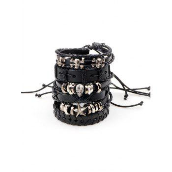 Metal Skull Star Faux Leather Punk Bracelets