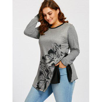 Butterfly Play Flower Split Plus Size T-shirt - GRAY XL