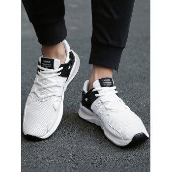Colorblock Breathable Mesh Sneakers - BLACK WHITE 40