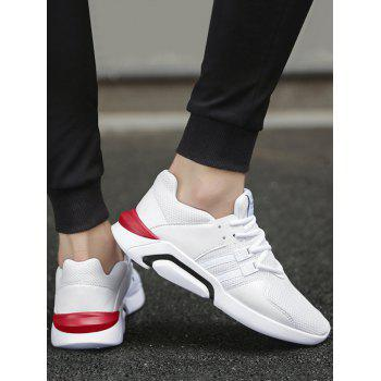 Breathable Round Toe Mesh Athletic Shoes - WHITE 44