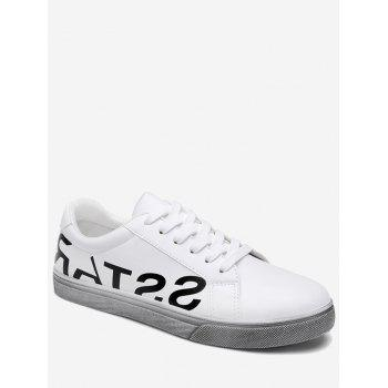 Letter Print Faux Leather Sneaker - WHITE 44