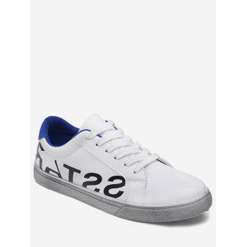 Letter Print Faux Leather Sneaker - BLUE 40