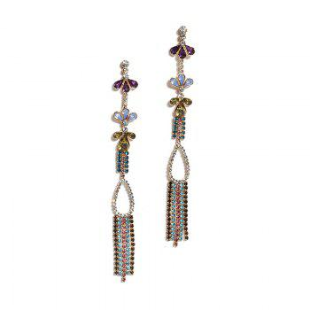 Faux Crystal Rhinestone Fringed Teardrop Earrings - COLORMIX COLORMIX