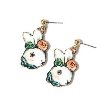 Cute Flower Bows Rabbit Drop Earrings - GREEN GREEN