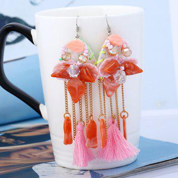 Resin Beaded Tassel Leaf Chain Earrings - PINK