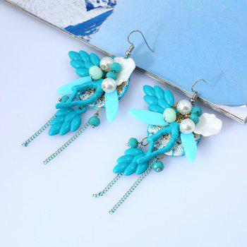 Faux Pearl Chain Angel Figure Earrings - BLUE