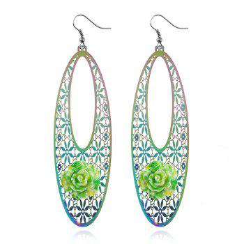 Alloy Oval Flower Engraved Hook Earrings - COLORMIX COLORMIX