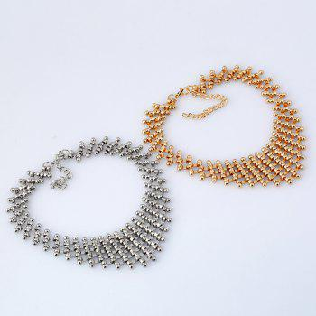 Metallic Round Link Choker Layered Necklace - GOLDEN