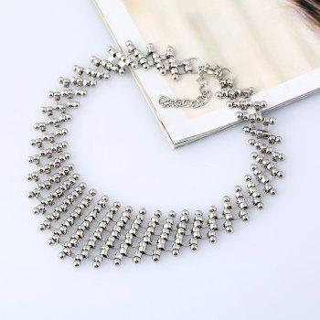 Metallic Round Link Choker Layered Necklace -  SILVER