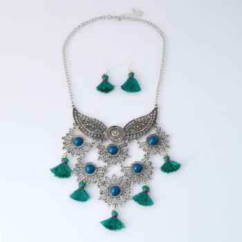 Tassel Face Mask Pendant Necklace and Earrings - GREEN