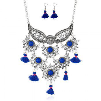 Tassel Face Mask Pendant Necklace and Earrings - BLUE BLUE