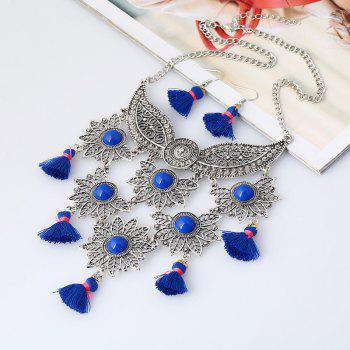 Tassel Face Mask Pendant Necklace and Earrings -  BLUE