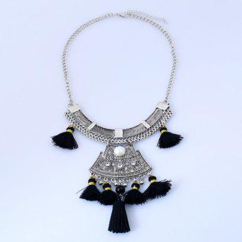 Bohemian Vintage Rhinestone Alloy Tassel Necklace -  BLACK