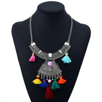 Bohemian Vintage Rhinestone Alloy Tassel Necklace - COLORMIX