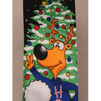 Santa Claus and Cartoon Deer Pattern Christmas Tie -  BLACK