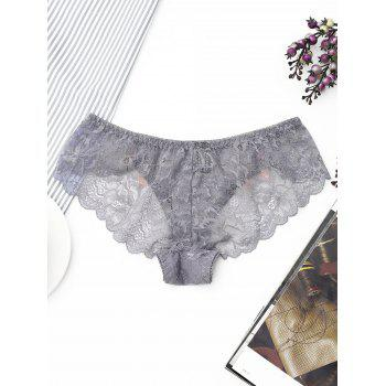 Lace Scalloped Trim Sheer Panties - GRAY ONE SIZE