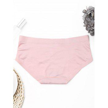 Seamless Mid Waist Panties - LIGHT PINK ONE SIZE